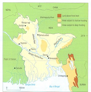 Flood potential map of Bangladesh. Source smeagol.terrace.qld.edu.a