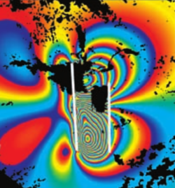 Synthetic interferogram for the 2003 Bam earthquake. The coloured fringes are essential contours of displacement during the earthquake. Source [1]