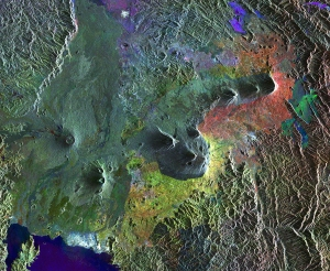 Interfermoteric map of part of the Virunga Mountains, East Africa  (ESA). The colours can be used to determine the actively deforming regions.