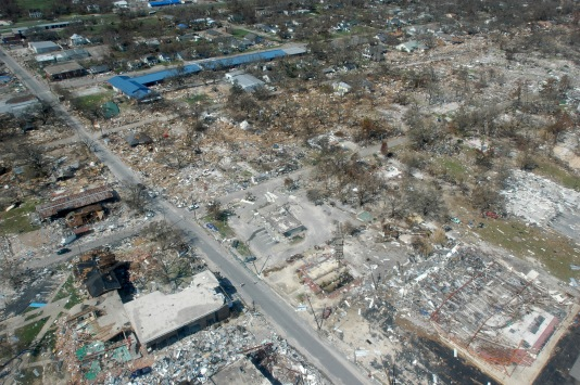 Extensive damage after the 2005 hurricane Katrina. Total damage > $100 billion USD. (Mark Wolfe)