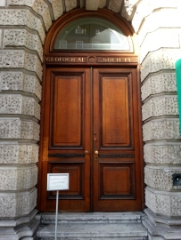 Entrance to the Geological Society headquarters in Burlington House, London.