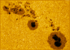 Giant sunspot AR1944. Picture taken by Peter Desypris and downloaded from spaceweather.com