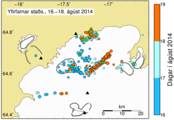 Seismic activity around the volcano as of 20:45 18th August. Event times are colour coded, events larger than magnitude 3 are given as green stars. Source: Icelandic Met Office