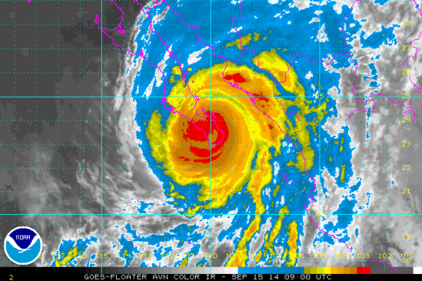 Infrared image of hurricane Odile in its current location. Source: Odile