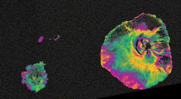 Surface deformation map of the Fogo island volcano that erupted recently.  Source: ESA