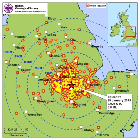 Epicentre of the magnitude 3.8 Rutland earthquake and the locations of reported shaking. Source: BGS