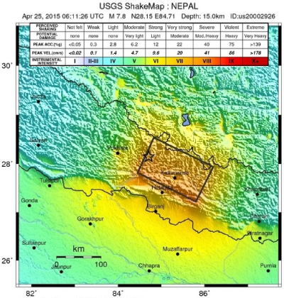 Earthquake shaking intensity map.  Source: USGS