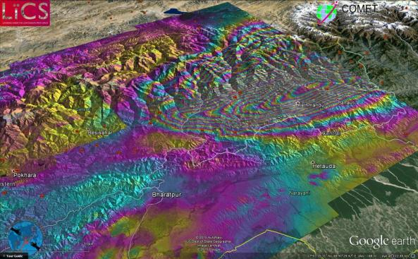 Sentinel 1 image of the Nepal earthquake deformation. Source: John Elliot - LiCS/COMET