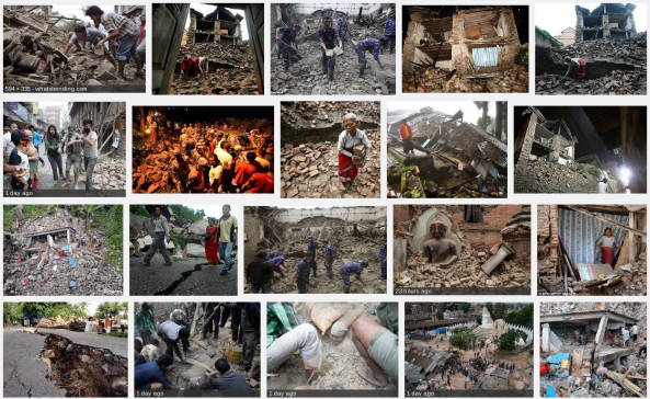 Some images of the destruction caused by the Nepal earthquake. Source: Google