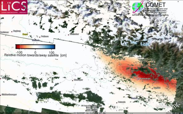 Processed Sentinel 1 results of the Nepal earthquake deformation. red = mostly subsidence, blue = mostly uplift.  Source: Pablo Gonzalez – LiCS/COMET+