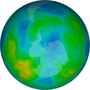 False-color view of total ozone over the Antarctic pole. The purple and blue colors are where there is the least ozone, and the yellows and reds are where there is more ozone.  Source: NASA