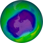 The ozone hole in 2006. Source: NASA